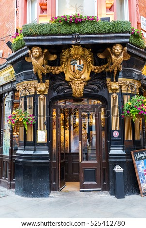 London, UK - June 19, 2016: pub The Salisbury in London. Its a Grade II listed public house which is noted for its particularly fine late Victorian interior with art nouveau elements.