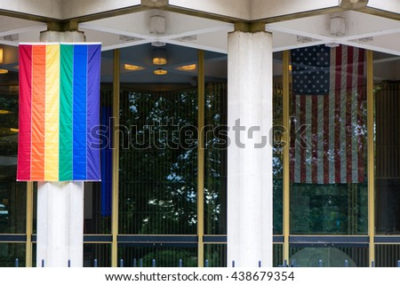 London Uk June 16 2016 Rainbow Flag With Stars And Stripes At Us Embassy