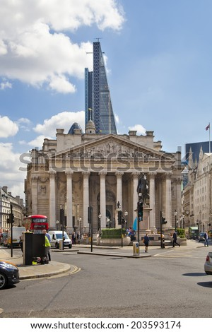 LONDON, UK - JUNE 30, 2014: Royal exchange building. Bank of England square and underground station - stock photo