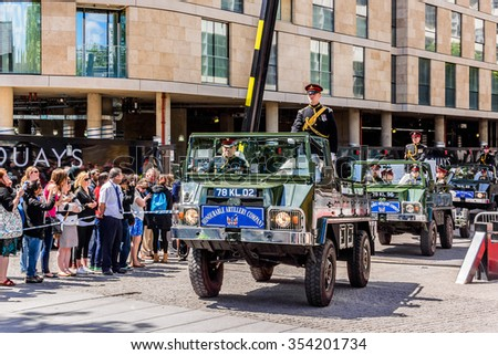 LONDON, UK - JUNE 03, 2013: Royal Salute at the Tower in honor of the 60th anniversary of the coronation of Queen Elizabeth. City of London's Territorial Army Regiment. Fragments events. - stock photo