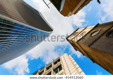 London, UK - June 17, 2016: skyscraper 20 Fenchurch Street in London, completed 2014, 34-storey and 160 m tall, 12th tallest in London, designed by architect Rafael Vinoly, nicknamed Walkie-Talkie - stock photo