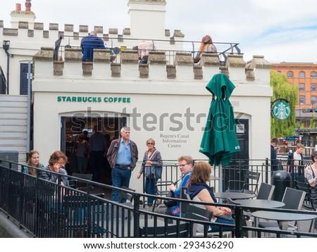 London, UK - June 17, 2015: Starbucks Coffee in Camden Town, London, UK. - stock photo