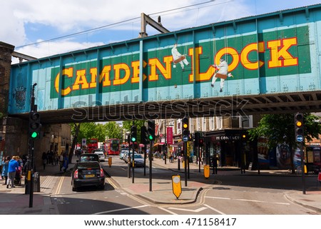 London, UK - June 17, 2016: street scene at Camden Lock with unidentified people. Camden Lock is one of the famous Camden markets, which are the fourth-most popular visitor attraction in London