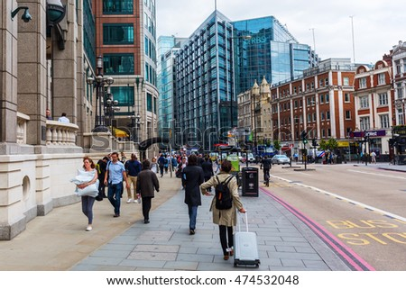 London, UK - June 21, 2016: street view at Bishopsgate in the City of London with unidentified people. The City of London is a county in London. There is the major business and financial centre.