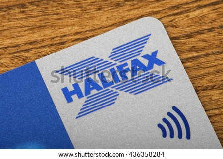 LONDON, UK - JUNE 13TH 2016: A close-up shot of the Halifax symbol on a debit card, taken in London on 13th June 2016.