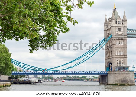 London/UK. June 19th 2016. The northern section of London's iconic Tower Bridge, built between 1886-1894. - stock photo