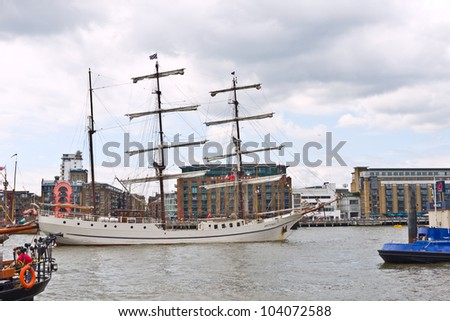 LONDON,UK-JUNE 1:The Artemis originally a whaling ship built in Norway in 1926. Now a sailing ship, she is sailing up the Thames for the Queen's Diamond Jubilee pageant. June 1, 2012 in London UK. - stock photo