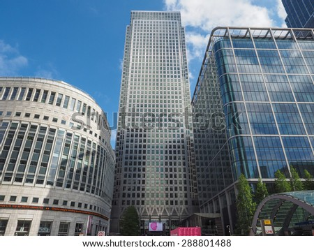LONDON, UK - JUNE 10, 2015: The Canary Wharf business centre is the largest business district in the United Kingdom - stock photo