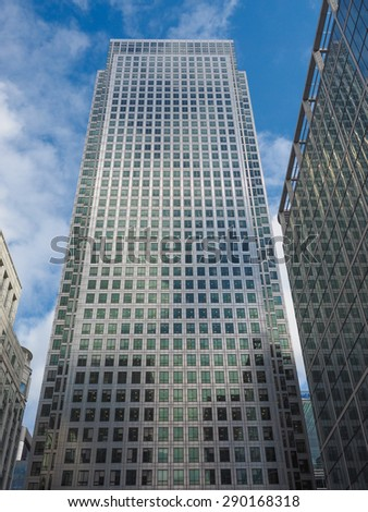LONDON, UK - JUNE 10, 2015: The Canary Wharf business centre is the largest business district in the United Kingdom