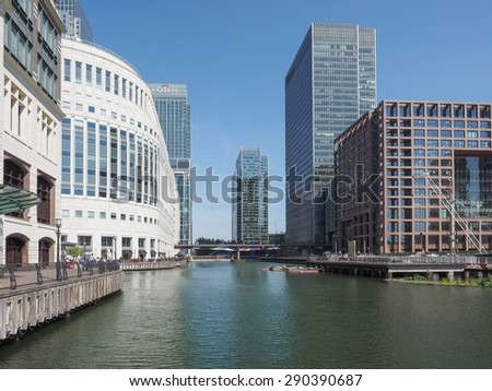 LONDON, UK - JUNE 11, 2015: The Canary Wharf business centre is the largest business district in the United Kingdom
