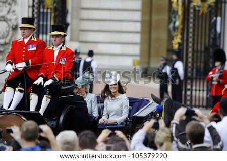 LONDON, UK - JUNE 16: The Duchess of Cambridge and the Duchess of Cornwall during Trooping the Colour ceremony, on June 16, 2012 in London. - stock photo