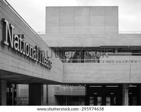 LONDON, UK - JUNE 09, 2015: The National Theatre designed by Sir Denys Lasdun is a masterpiece of new brutalist architecture in black and white