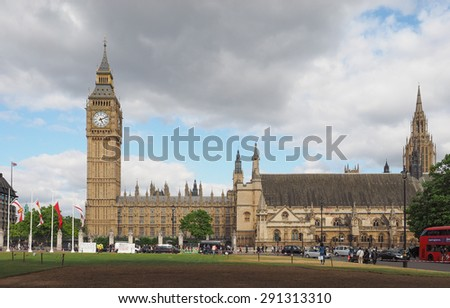 LONDON, UK - JUNE 09, 2015: Tourists in Parliament Square in Westminster