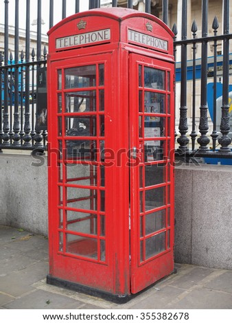 LONDON, UK - JUNE 09, 2015: Traditional red telephone box