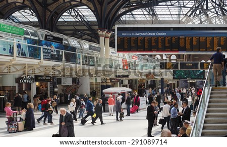LONDON, UK - JUNE 12, 2015: Travellers at Liverpool Street Station