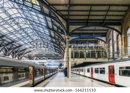 LONDON, UK - JUNE 3, 2013: View of Liverpool Street station (1874) - central London railway terminus and connected London Underground station in north-eastern corner of London. - stock photo