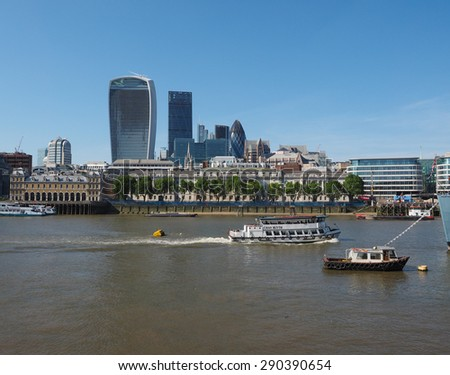LONDON, UK - JUNE 11, 2015: View of the City of London business district seen from River Thames