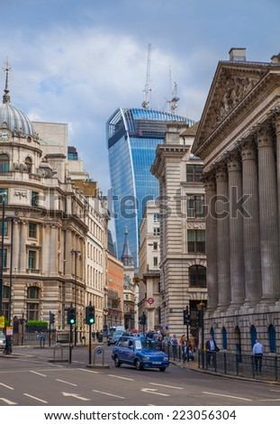 LONDON, UK - JUNE 30, 2014: Walkie Talkie building, view from the Bank of England square - stock photo