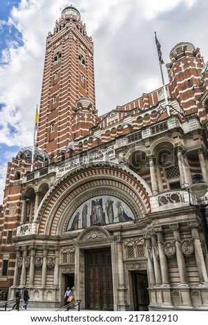 LONDON, UK - JUNE 2, 2013: Westminster Cathedral (1895 - 1903) - mother church of Catholic community in England & Wales and Metropolitan Church & Cathedral of Archbishop of Westminster.