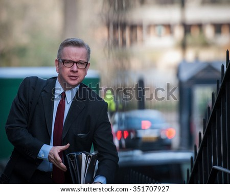 London, UK. 10 Mar, 2015. Michael Gove, Secretary of State for Education and then Chief Whip arriving at a Cabinet Meeting in Downing Street.