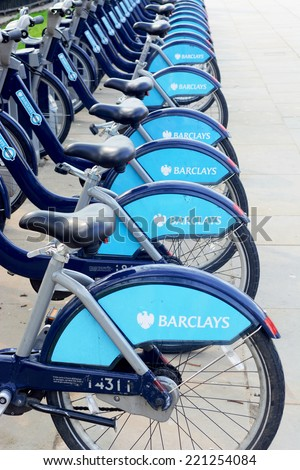 London, UK - March 28 2014: Barclays Cycle Hire is a public bicycle hire scheme in London, United Kingdom.  - stock photo