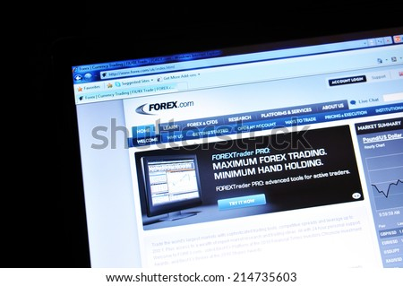 LONDON, UK - MARCH 8, 2011: Close up of the Forex currency market website on laptop screen