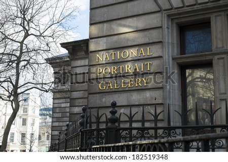 LONDON, UK - MARCH 01: Detail of National Portrait Gallery building. March 01, 2014 in London. - stock photo