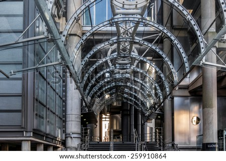 LONDON/UK - MARCH 7 : Entrance to Lloyds of London on March 7, 2015 - stock photo