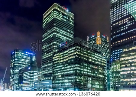 LONDON, UK - MARCH 17: HSBC UK Head Quarter at night on March 17, 2013 in London, UK. HSBC's World Head Quarters based in Canary Wharf is world's third-largest bank and sixth-largest public company. - stock photo