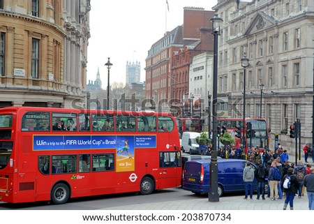 London, UK  March 28 2014:  London city on rush hour - stock photo