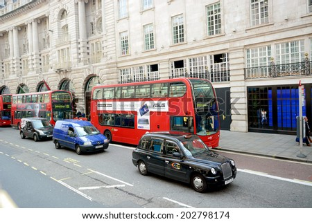 London, UK  March 28 2014:  Normal scene in Regent Street in the West End of London  - stock photo