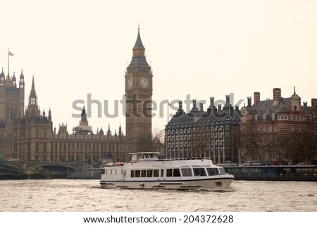 London, UK - March 28 2014:  Scenery of House of Parliament London taken from river Thames - stock photo