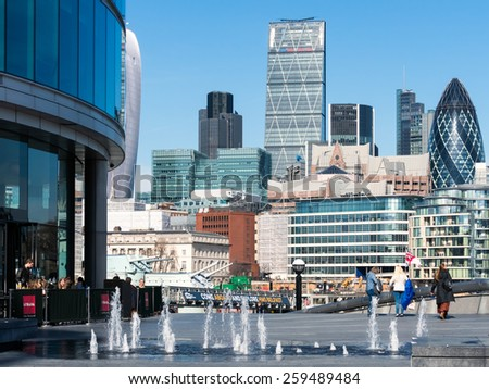 LONDON/UK - MARCH 7 : View of the London Skyline on March 7, 2015. Unidentified people.