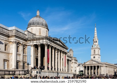 LONDON/UK - MARCH 7 : View of the National Gallery in London on March 7, 2015. Unidentified people. - stock photo