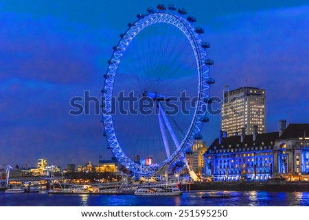 LONDON, UK - MARCH 17, 2013: Views of the City of London at night. - stock photo