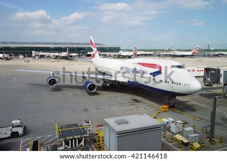 LONDON, UK -15 MAY 2016- An Airbus A380 from British Airways (BA) at London Heathrow Airport (LHR). - stock photo