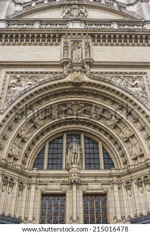 LONDON, UK - MAY 28, 2012: Architectural details of entrance of Victoria and Albert Museum (1852) in London. Victoria and Albert Museum - world's largest museum of decorative arts and design. - stock photo