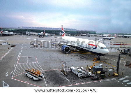 LONDON, UK, MAY 29: British Airways aircraft at the Heathrow International Airport ready for boarding connected to aerobridge. May 29, 2016