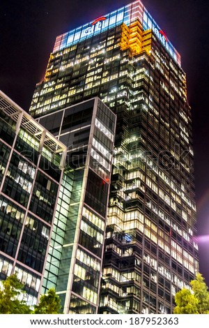 LONDON, UK - MAY 26, 2013: Canary Wharf at night. Canary Wharf is a major business district located in Borough of Tower Hamlets, contains many of UK tallest skyscrapers.