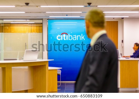 london uk may 15 2017 citibank sign displayed at a branch in