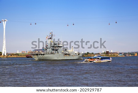 LONDON, UK - MAY 17, 2014 German army military ships based in Canary Wharf aria
