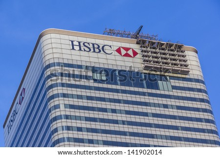 LONDON, UK - MAY 26: HSBC UK Head Quarter on May 26, 2013 in London, UK. HSBC's World Head Quarters based in Canary Wharf is the world's third-largest bank and sixth-largest public company. - stock photo