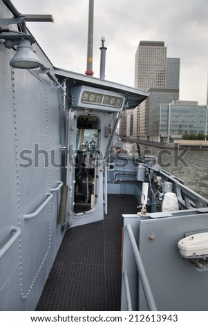 LONDON, UK - MAY 17, 2014 In side of Capitan cabin. German army military ships based in Canary Wharf aria, to be open for public in educational content