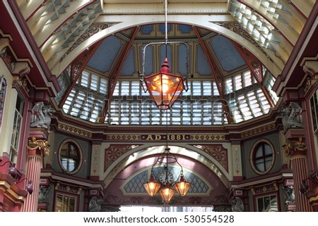 LONDON, UK - MAY 24, 2010: Interior of Leadenhall Market on Gracechurch Street. Leadenhall Market - is one of the oldest markets in London, dating back to the 14th century