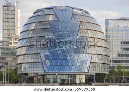 London, UK - May 16, 2016; London City Hall building, on the banks of the River Thames by Norman Foster