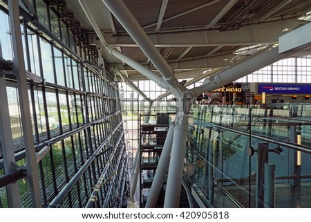 LONDON, UK -15 MAY 2016- London Heathrow Airport (LHR) is the busiest airport in England and the main hub for British Airways (BA). - stock photo