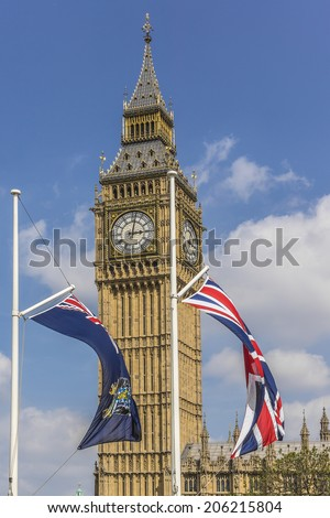LONDON, UK - MAY 31, 2013: Parliament Square decorated with flags of the British Commonwealth to celebrate 60th Anniversary of Coronation of Britain's Queen Elizabeth II. - stock photo