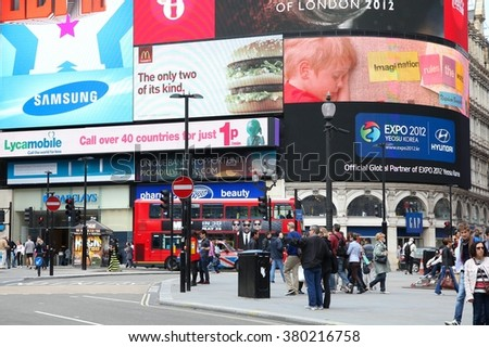 LONDON, UK - MAY 13, 2012: People visit Piccadilly Circus in London. London is the most populous city and metropolitan area of the European Union with 9,787,426 people in 2011.