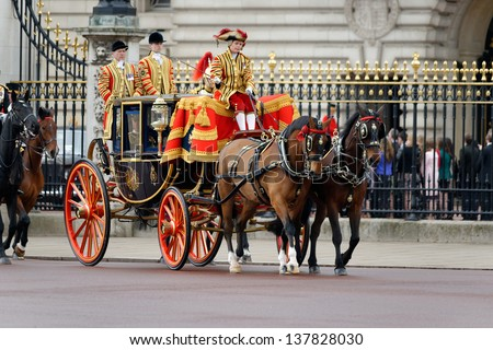 LONDON - UK, MAY 08: Prince Charles and Camilla, Duchess of Cornwall leaving Buckingham Palace and going to the State Opening of Parliament on May 8, 2013 in London. - stock photo