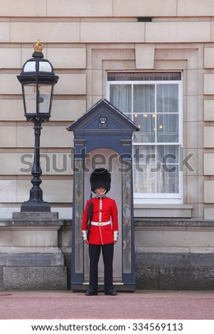 LONDON - UK, May 26 : Queen's Guard - Buckingham Palace on June May 26 2015. The Queen's Guard is the contingents of infantry and cavalry soldiers charged with guarding the official royal residences.